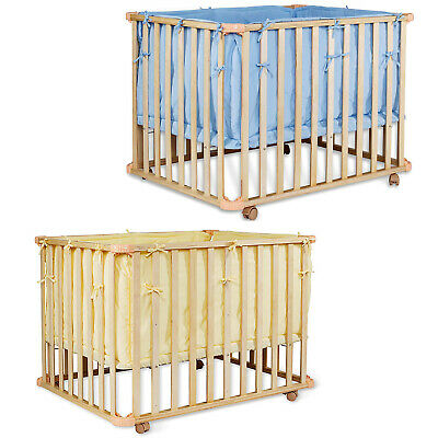 dibea, Wooden Baby Crib, Mobile Cot with casters (Bed 90 x 60 cm), 2 col avail.