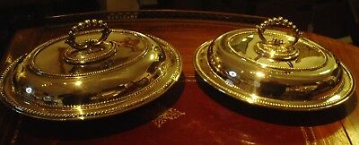 Pair Victorian Silver Plated Entree Dishes c1890-1900 WORLDWIDE SHIPPING $99.00