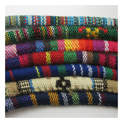 FABRIC COVERED ETHNIC COLOURFUL OVAL CORD JEWELLERY  STRING NECKLACE ROPE 7x5mm