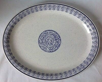 Vintage Buffalo Pottery Oval Serving Platter Restaurant Ware Indian Aztec Head