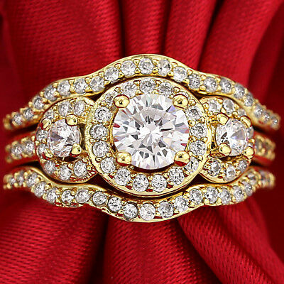 18K Gold Gf Vintage Trilogy Signity Diamond Anniversary Wedding Dress Ring Gift