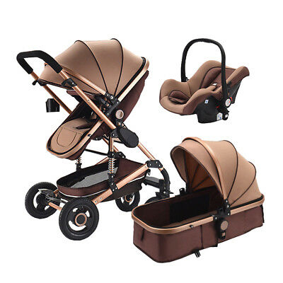 High end Baby Stroller 3 in 1 High Landscape Pram foldable pushchair & Car Seat