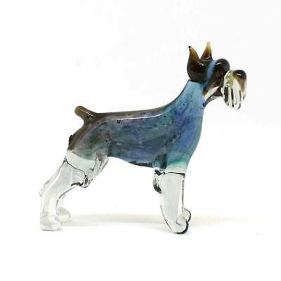 Middle blown glass figurine Dog - Schnauzer. Russian Murano Handmade #107