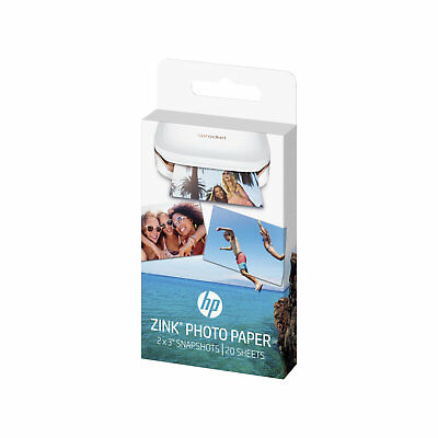 HP Zink Photo Paper Snapshots For Sprocket Printer 2 x 3 Inches, 20 Sheets