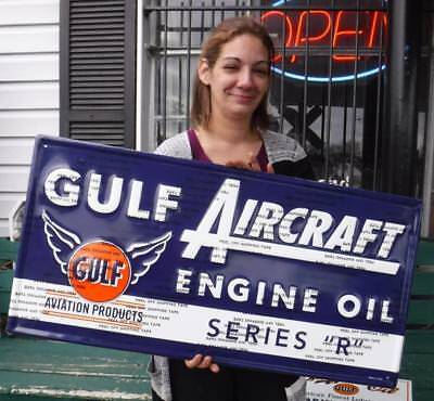 """Gulf Aircraft Engine Oil Series """"r"""" Embossed Metal Sign Advertising Aviation"""