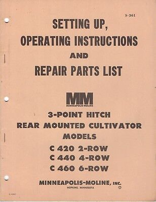 Minneapolis Moline Operating Instructions 3 Point Hitch Cultivator C420/440/460