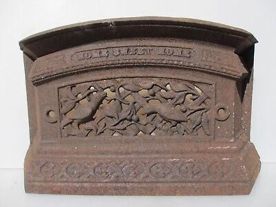 Antique Fireplace Iron Fender Front Grate Tidy Betty Old Victorian Birds Nature