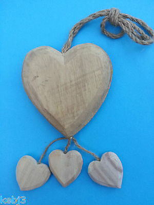 Rustic Style WOODEN HEARTS  6 Rustic Carved Hearts 9cm other choices available