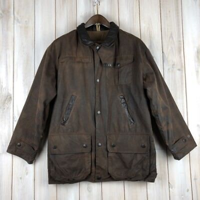 Vintage Barbour Bushman Men's Brown Wax Waxed Jacket Coat MADE IN ENGLAND S / M