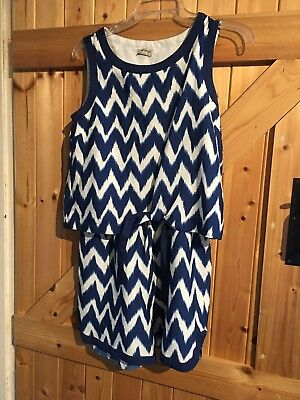 """Gorgeous Girls Playsuit Next 14 Years Height 164cm Blue & White Chest 30""""-32"""""""