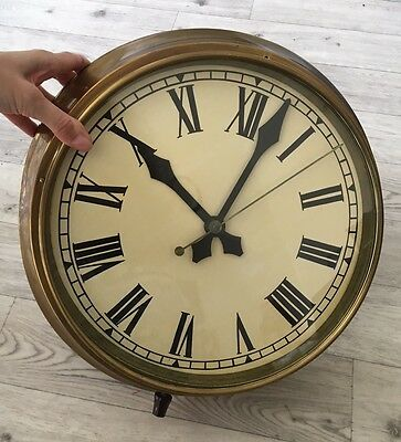 Large,Original,Vintage Industrial/ Factory Brass Wall Clock Collection In Person