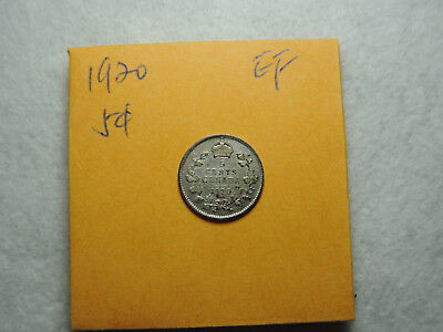 1920 5 Cent Coin Canada King George V Five cents .800 Silver EF Grade