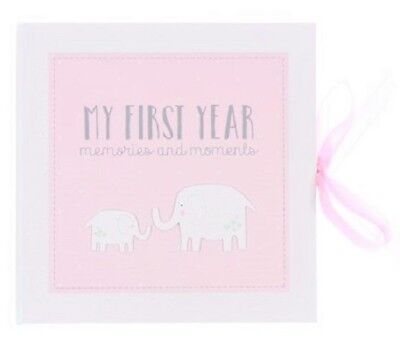 Petit Cheri MY FIRST YEAR Pink RECORD MEMORY BOOK Keepsake Baby Girl Shower Gift