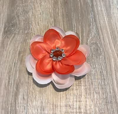 "Handmade Satin Ribbon Flower Hair Bow 4"" Clip Headband Options Salmon & Ivory"