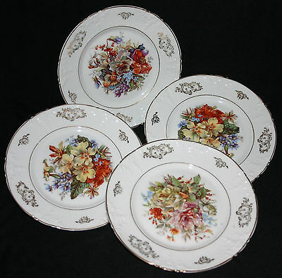 Antique > Bavarian Hp China > Floral Motif > W/gold Gilt > Dessert/bread Plates