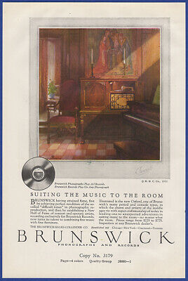 Vintage 1922 BRUNSWICK Phonograph Records Art Decor Ephemera Print Ad 20's