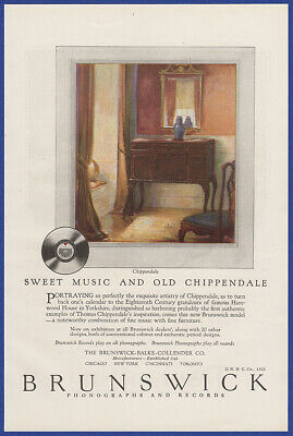 Vintage 1922 BRUNSWICK Chippendale Phonograph Records Art Decor Print Ad 20's
