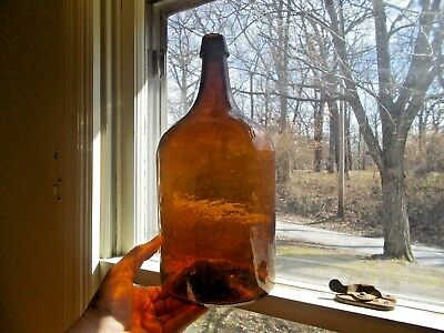 "1860s STODDARD AMBER CRUDE WHITTLED 3 PC MOLD 13 3/4""DEMIJOHN 5,000 BUBBLES"