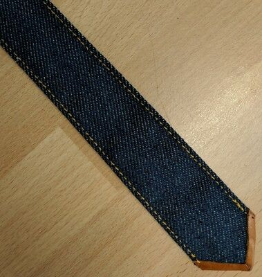 Vintage blue denim leather backed skinny neck tie punk era