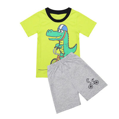 2PCS Toddler Kids Baby Boys Summer Casual T-shirt Tops+Pants Clothes Outfits Set