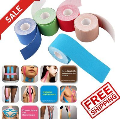 5m x 5cm Kinesiology Sports Muscles Care Elastic Physio Therapeutic Tape New RU