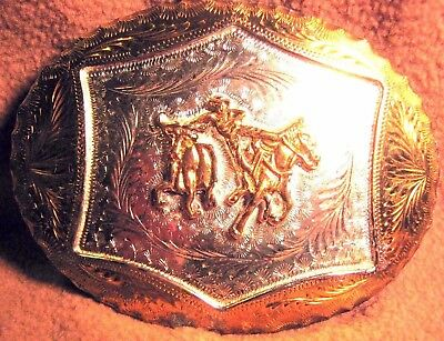 Vintage Heavy Hand Made & Engraved COWBOY BULL DOGGING Belt Buckle FREE SHIP