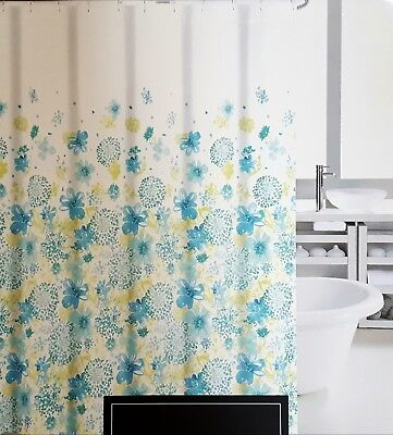 NEW Cynthia Rowley Turquoise Aqua Green Floral Fabric Shower Curtain