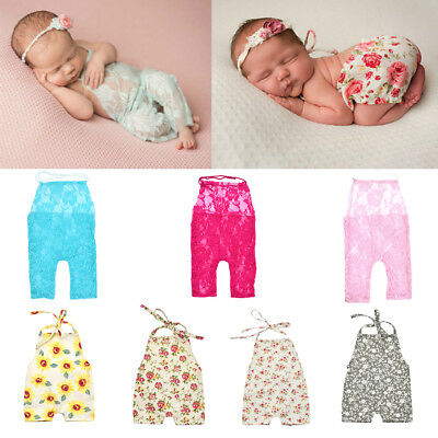 Newborn Photography Props Girl Photo Shoot Outfits Infant Lace Clothes Rompers
