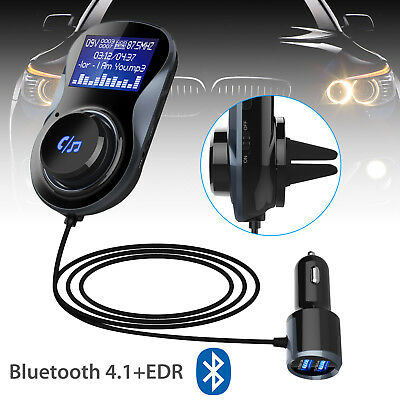 Bluetooth 4.1+EDR Auto Car MP3 Player Kit Hands-Free Dual USB FM Transmitter