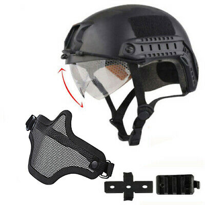 Tactical Airsoft Paintball SWAT Protective FAST Helmet W/ Goggle + Glove