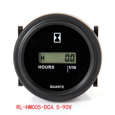 RL-HM005 DC 4.5-90V RESET LCD Round Hour Meter for tractor snowmobile aerator