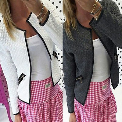 Womens Qulited Bomber Jacket Biker Slim Short Coat Cardigan Blazer Outwear Fall
