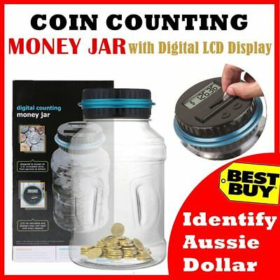 LCD Digital Electronic Counting Coin Bank Money Saving Box Jar Counter Bank AG