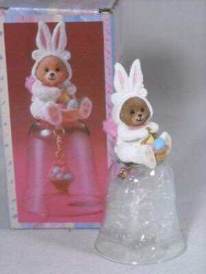 """New Vtg """"bearly A Bunny"""" Glass Bell With Clapper In Original Box By Giftco, Inc."""