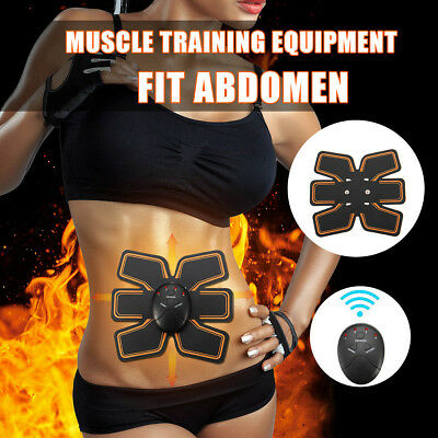 AU EMS Remote Control Muscle Trainer Abdominal Smart Body Building Fitness ABS