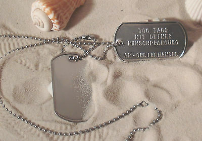 Dog Tag paio Dog Tag AMULETO Dog Tag + goffratura in acciaio inox