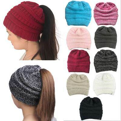 Women Beanie Tail Messy High Bun Hat Ponytail Stretchy Knitted Crochet Skull Cap