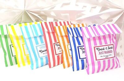 Personalised Wedding Favour Sweet Bags Birthday Candy Cart Striped Polka Dots