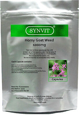 Horny Goat Weed 1000mg Capsules SYNVIT® caps Sex Libido PRIVATE