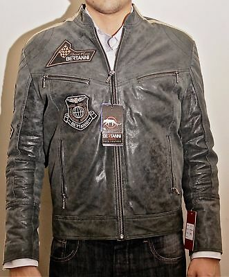 Mens Vintage Black Genuine Leather Jacket Slim Fit Real Biker Mew
