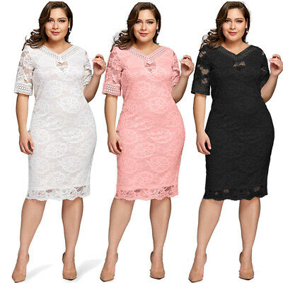 Plus Size Women Lace Bodycon Half Sleeve Summer V Neck Evening Party Midi Dress