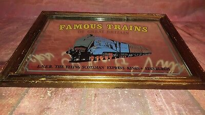 Vintage Flying Scotsman Train Advertising Collectible Mirror Man Cave Shed