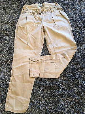 Ladies NEXT linen Maternity Khaki Trousers Uk 14 Elasticated Button Immaculate