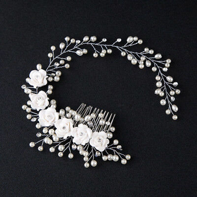 Hair Accessories For Women Pearl Flower Hairband Wedding Bride Tiaras Crown...