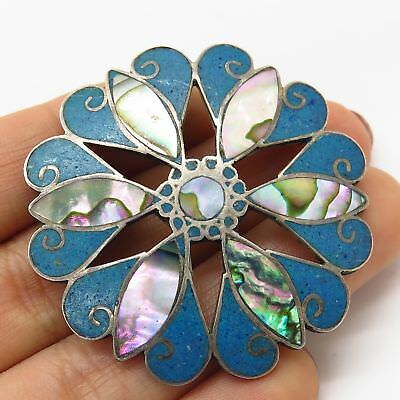 Vtg Mexico 925 Silver Abalone Turquoise Inlay Tribal Floral Large Pin Brooch