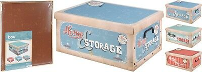 Lovely Small Vintage Retro Design Cardboard Storage Boxes with Lids & Handles