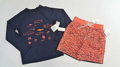 NWT Baby Gap Boys 2t 3t 4t 5t Navy Shark Rashguard Orange Trunks Bathing Suit