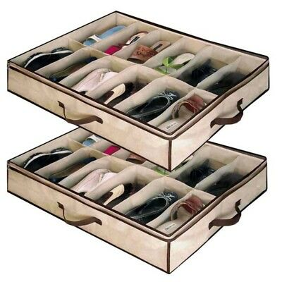 Home Storage Shoe Organizers 12 Cells Under bed Bag Foldable Closet Drawer Box