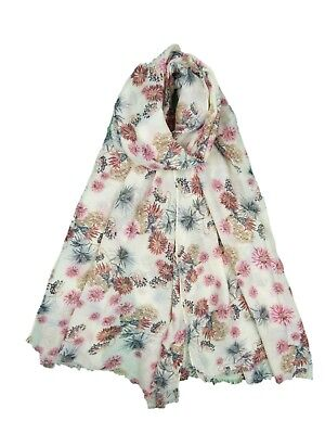 Ladies Womens Daisy Flower Print Scarf Blue Pink Brown Grey Daisies Pretty Scarf