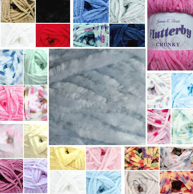 James C.brett Flutterby Super Soft Baby Chenille Fashion Chunky Wool,yarn 100G